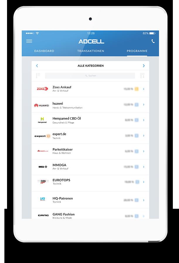 ADCELL App für iPad und Tablet