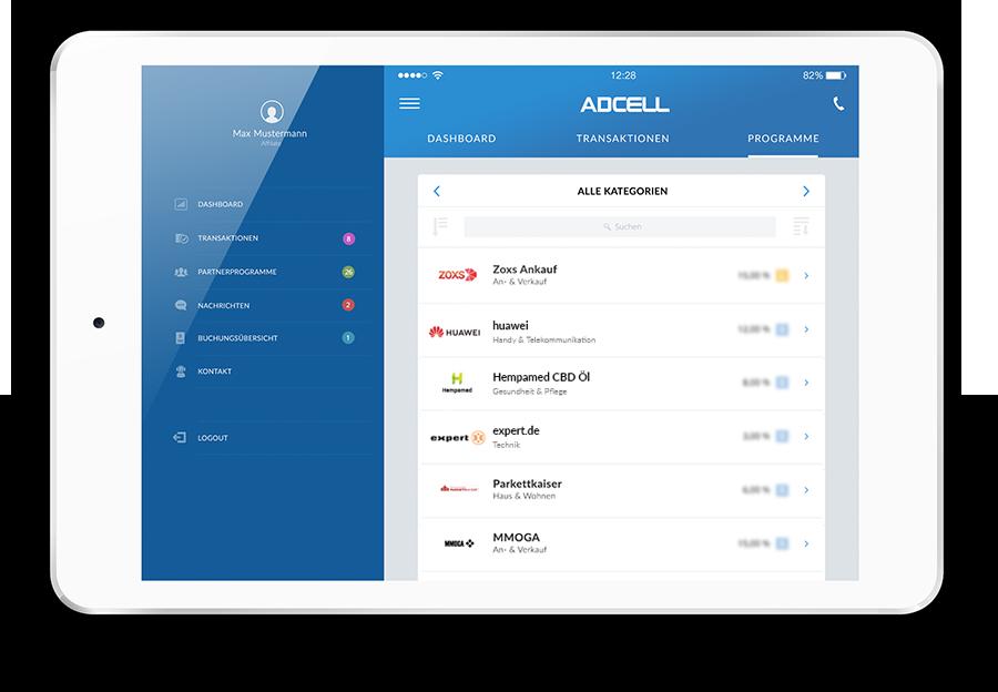 ADCELL App für Tablet und iPad