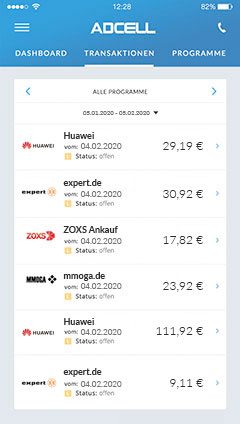 Transaktionen in der ADCELL App